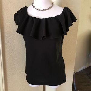 Polo Ralph Lauren Top Off Shoulder Ruffle 12 Black